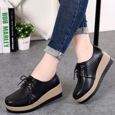 2020新款韩版内增高女鞋坡跟厚底春季单鞋新款小皮鞋休闲鞋平底松