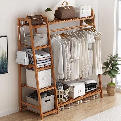 热卖畅销挂衣架落地置物架卧室简易衣柜收纳架实木衣帽架多功能挂