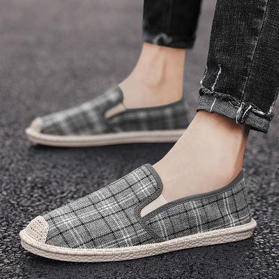 男鞋夏季透气韩版潮流百搭一脚蹬懒人鞋子男士休闲老北京帆布鞋男