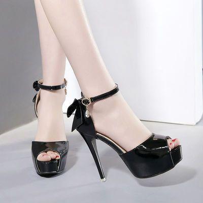 新款一字扣超高跟凉鞋细跟防水台露趾高跟鞋裸色欧美性感夜店女鞋
