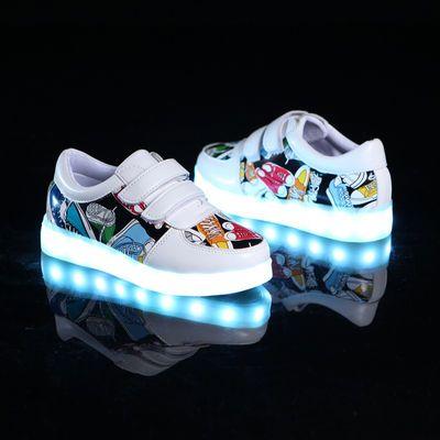 春夏儿童发光鞋女童亮灯鞋usb充电led闪光男童夜光鞋带灯透气运动