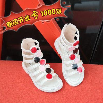2020儿童夏季新款韩版防滑凉鞋软底高帮露趾中小女童公主鞋罗马鞋