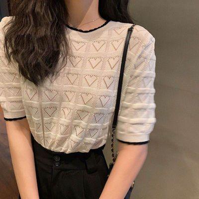 心形镂空短袖针织衫冰丝t恤慵懒小心机设计感女上衣韩版2020夏新