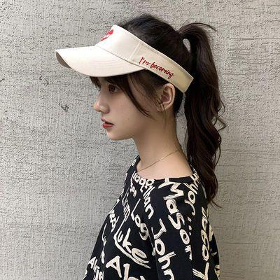 日系Chic软妹爱心刺绣字母空顶帽女夏天户外运动跑步帽无顶防晒帽