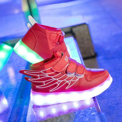 新款发光鞋男童usb充电儿童闪灯鞋亮灯女童鞋led夜光带灯运动鞋子