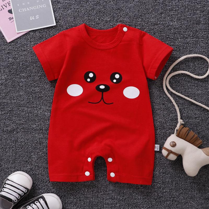 宝宝纯棉短袖连体衣0-6-14个月新生儿夏季哈衣婴幼儿薄款外出爬服