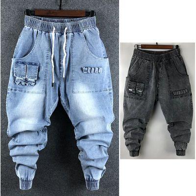 新款网红休闲水洗牛仔裤男小脚大码宽松工装哈伦裤韩版潮流长裤子