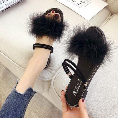 毛毛拖鞋女夏外穿学生韩版凉鞋女平底凉拖鞋时尚社会夏季新款女鞋