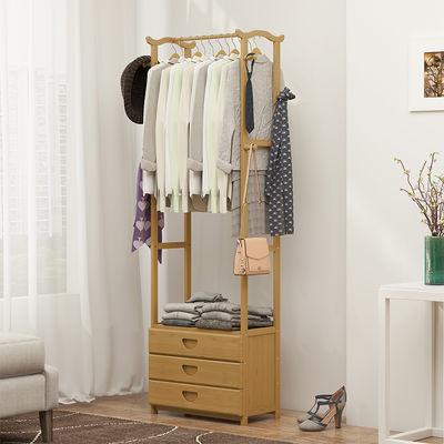 耘竹家人简易衣帽架实木挂衣架落地卧室收纳置物家用衣柜简约现代
