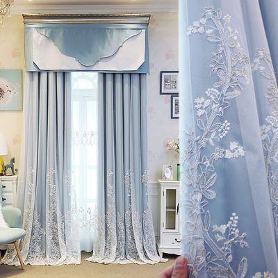 双层粉色蕾丝全遮光ins北欧公主风客厅卧室阳台定制成品窗帘窗纱