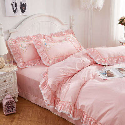 新款100%全棉被套四件套纯棉公主风床单三件套韩版单人双人床上用