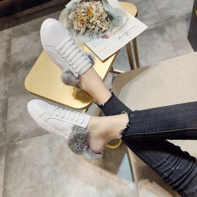 欧洲站夏季新款ins小白鞋时尚平底包头拖鞋女鞋潮流半拖毛毛拖鞋