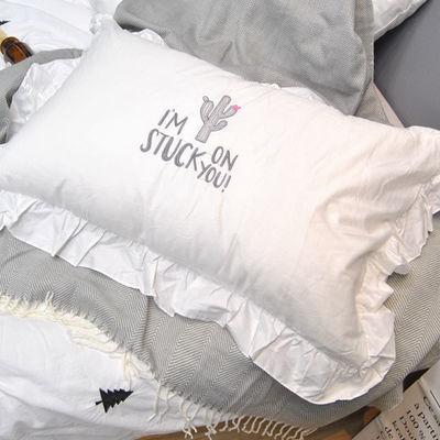 新款公主风韩版花边英文字母刺绣白色枕套ins荷叶边绣花纯棉单人