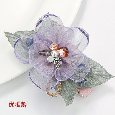 新款盘发夹子刘海夹鸭嘴夹蝴蝶结韩国发卡边夹一字夹弹簧夹绢纱头