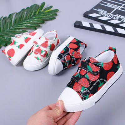 儿童帆布鞋女童2020春季新款小白鞋男童草莓布鞋韩版宝宝休闲板鞋