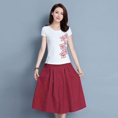 2020新款断码清仓限时清货处理售完即止95%棉短袖T恤女民族中国风