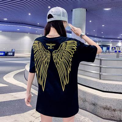 BOY印花金色翅膀中长款短袖T恤男女夏季嘻哈宽松大版上衣情侣装