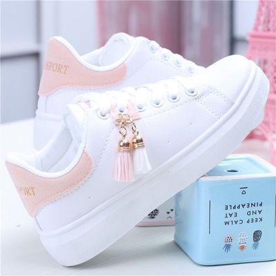 春季女童鞋平跟女生小白鞋2020平底跑步透气运动鞋白色小学生单鞋