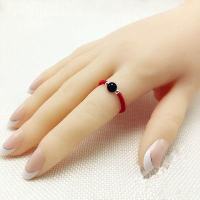 时尚情侣戒指环小红书同款转运珠戒指网红学生男女手工红绳戒指