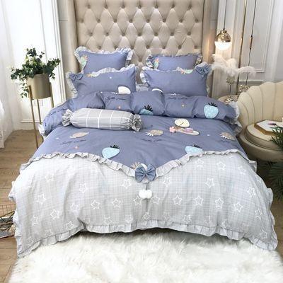 新款韩版公主风纯棉四季加厚磨毛四件套全棉床上用品1.8米床特价