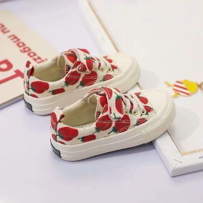 儿童鞋女童草莓鞋2020春季新款帆布鞋小女孩休闲鞋学生板鞋小白鞋