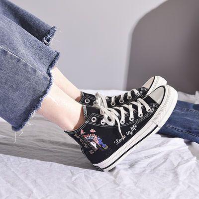 2020新款2020年春季女韩版ulzzang高帮帆布鞋潮学生低帮百搭网红i