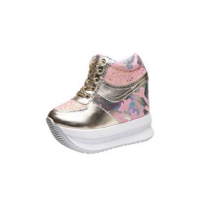 系带运动鞋女2020春季新款韩版坡跟厚底12cm超高跟内增高休闲女鞋