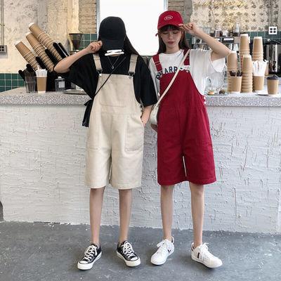 工装背带短裤女韩版宽松春夏2020新款显瘦学生吊带直筒阔腿裤五分