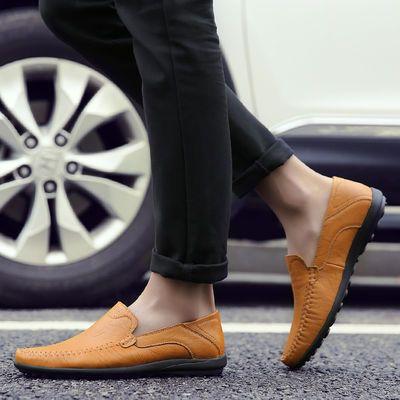 迪克驼【真牛皮】【透气镂空】夏季透气休闲皮鞋男套脚豆豆鞋