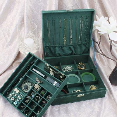 双层带锁首饰盒绒布木质饰品收纳盒大容量项链手饰盒九宫格手镯盒