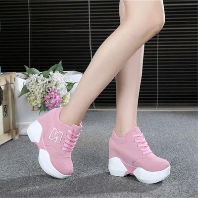 显瘦厚底10cm内增高休闲小白鞋2020春季新款超高跟百搭粉色运动鞋