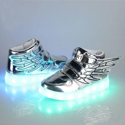 春秋防水儿童发光鞋led灯鞋男童翅膀USB充电荧光鞋运动鞋女夜光鞋