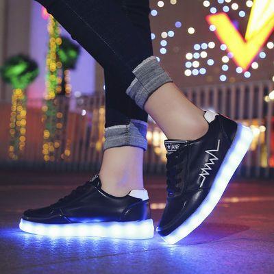 韩版春夏七彩发光鞋充电鬼步舞男女情侣亮灯鞋带灯学生夜光荧光鞋