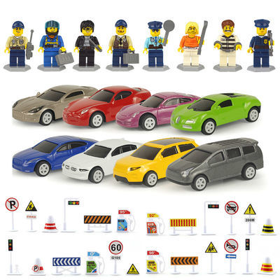 合金小汽车玩具耐摔越野车男孩跑车赛车金属回力车仿真交通场景