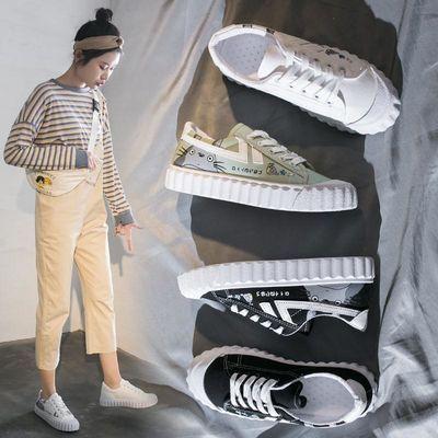 2020新款龙猫帆布鞋2020春季女鞋新款潮秋鞋百搭学生韩版手绘涂鸦