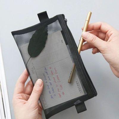 2020新品特卖韩国版简约小清新透明网纱创意考试笔袋大容量文具盒