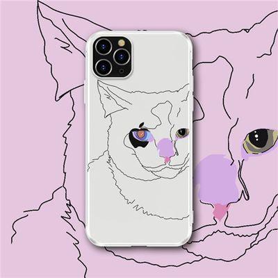 苹果11Pro手机壳Xsmax抽象线条猫咪插画异眼透明防摔XR保护套7P8P