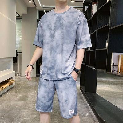 短袖t恤套装男士夏季宽松潮流半袖运动潮牌帅气男装搭配一套衣服