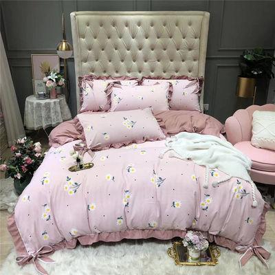 网红韩版蝴蝶结四件套针织纯棉少女心公主风保暖被套床单床上用品