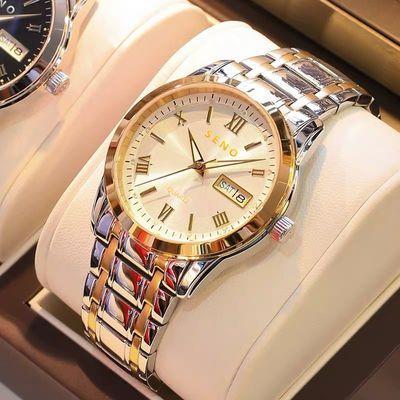 正品瑞士全自动机芯手表男士双日历夜光防水情侣镶钻石英非机械表