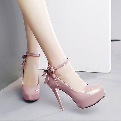 夏季新款裸色高跟鞋细跟防水台一字扣鱼嘴凉鞋夜店超高跟女鞋