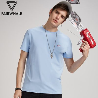 马克华菲男士短袖T恤夏新款圆领纯色刺绣男装韩版修身潮流打底衫