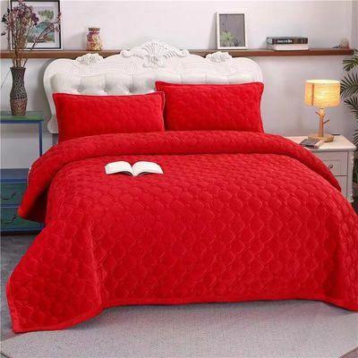 热卖畅销水晶绒毛毯床单ab版纯色保暖法兰绒床盖加厚绒毯双人床冬