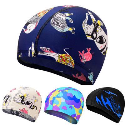 花色纯色布泳帽舒适温泉不勒头游泳帽成人男士女士儿童通用