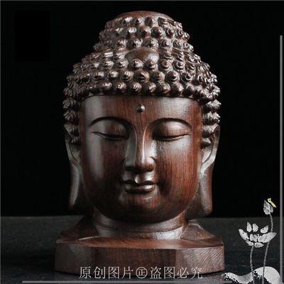越南沉香木如来佛头释迦摩尼头像家居办公室摆件 木雕工艺品摆设