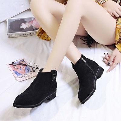 35-44码春秋新款马丁靴女加大码41休闲靴42短靴皮鞋43韩版粗跟女