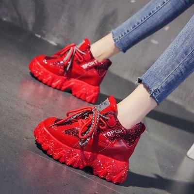 网红老爹鞋女超火2020春季新款百搭厚底红色高跟女鞋内增高运动鞋