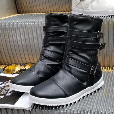 男士鞋夏季马丁靴作训网面短高帮皮秋反毛板潮流头层牛小韩版厚底