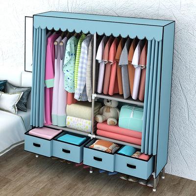 宜家衣柜简易布衣柜钢管加粗加固双人组装折叠加厚大号家用布柜子