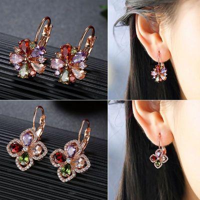 气质长款水晶耳环女韩国花朵珍珠锆石耳坠耳扣简约耳钉防过敏耳饰
